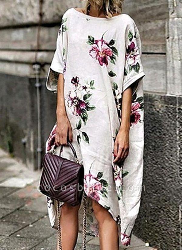 White Plus Size Tunic Floral Round Neckline Boho Midi Plus Dress