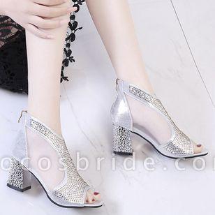 Women's Crystal Peep Toe Fabric Chunky Heel Sandals