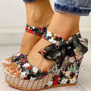 Women's Bowknot Lace-up Flower Slingbacks Cloth Wedge Heel Sandals
