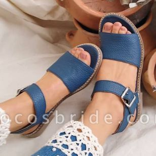 Women's Buckle Round Toe Low Heel Sandals