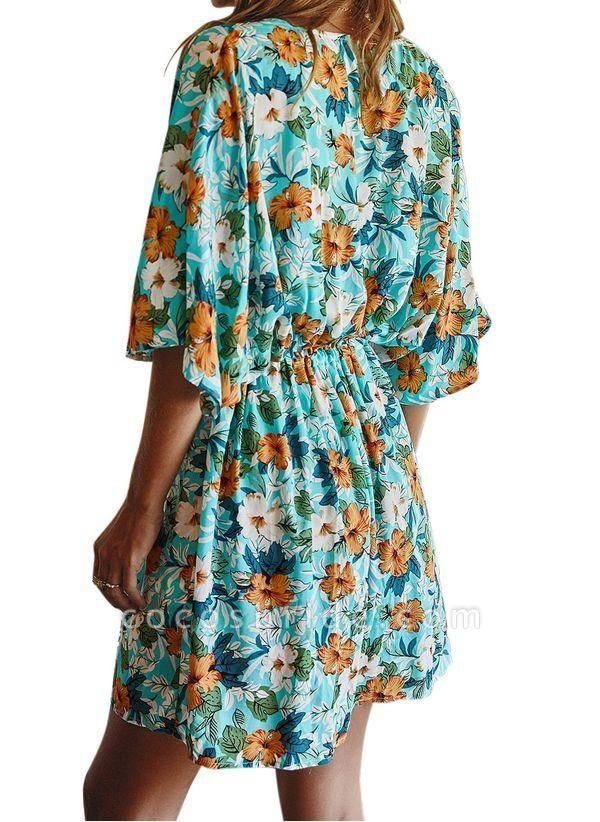 Yellow Plus Size Floral V-Neckline Casual Ruffles Above Knee Plus Dress