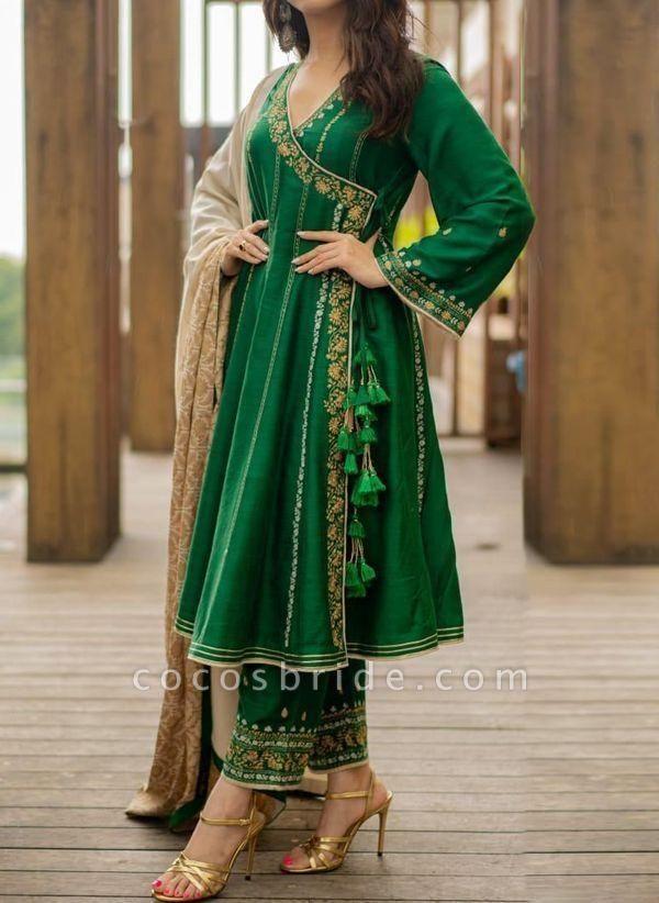 Green Vintage Floral Tunic V-Neckline A-line Dress