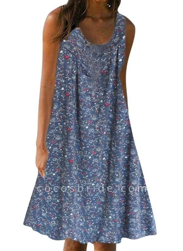 Blue Plus Size Tunic Floral Round Neckline Casual Knee-Length Plus Dress