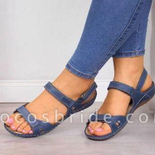 Women's Velcro Slingbacks Nubuck Flat Heel Sandals
