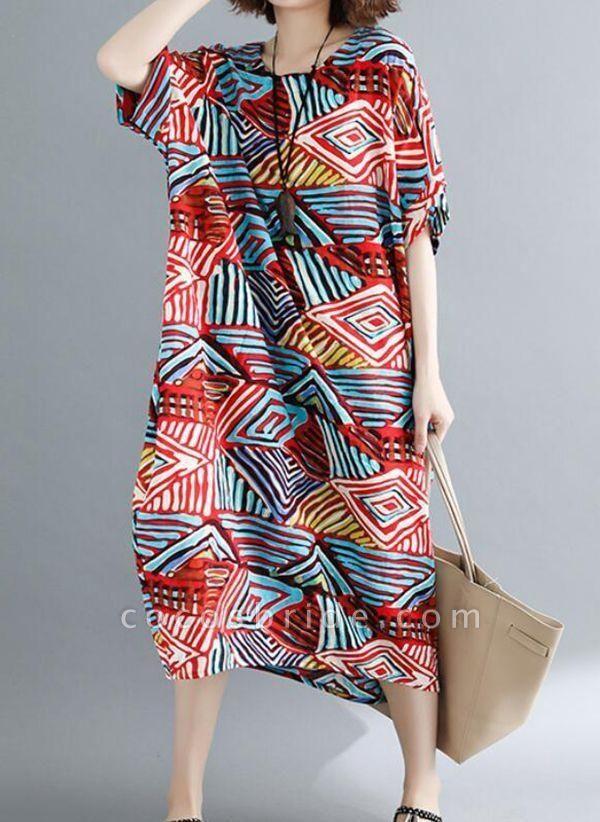 Red Plus Size Tunic Color Block Round Neckline Casual Pockets Plus Dress