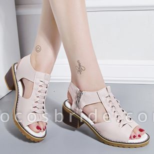 Women's Zipper Slingbacks Chunky Heel Sandals