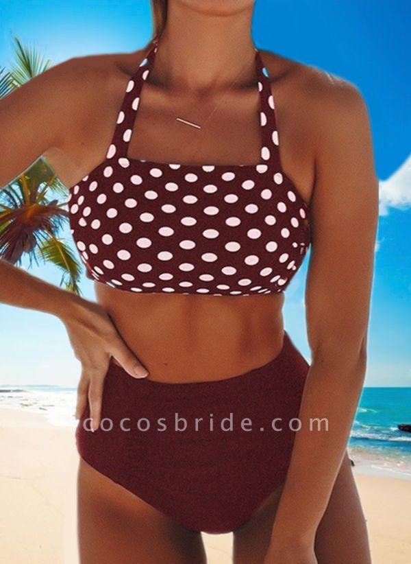 Polyester Halter Dot Bikinis Swimwear