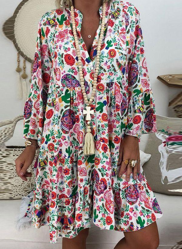 White Plus Size Tunic Floral V-Neckline Casual Buttons Plus Dress