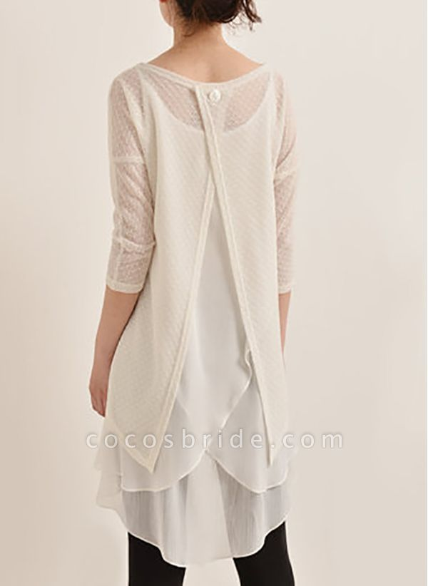 Casual Solid Hollow Out Round Neckline A-line Dress