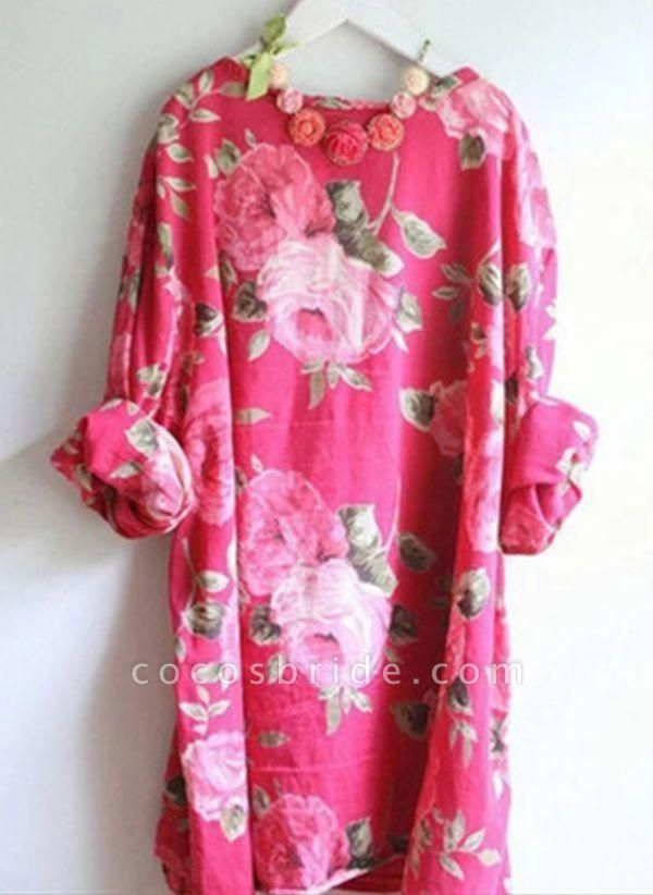 Red Plus Size Tunic Floral Round Neckline Casual Above Knee Plus Dress