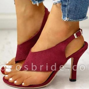 Women's Buckle Slingbacks Flip-Flops Stiletto Heel Sandals