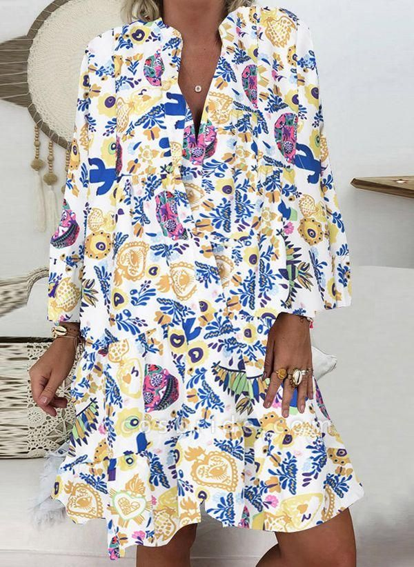 Purple Plus Size Tunic Floral V-Neckline Casual Buttons Plus Dress