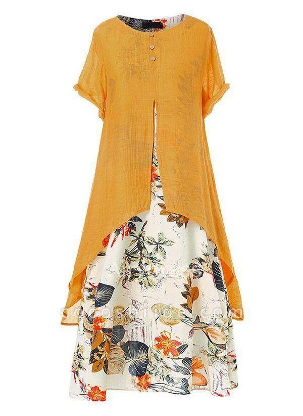 Orange Plus Size Tunic Floral Round Neckline Casual Maxi Plus Dress