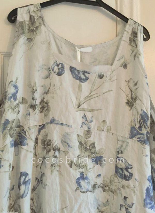 White Plus Size Tunic Floral Round Neckline Casual Midi Plus Dress