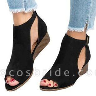 Women's Buckle Wedge Heel Sandals