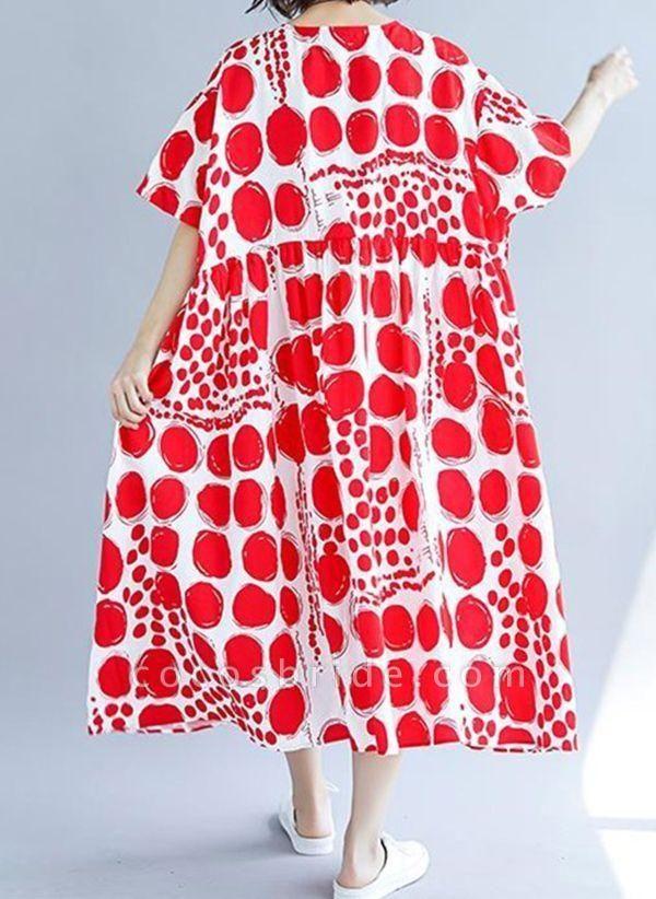 Red Plus Size Tunic Polka Dot Round Neckline Casual Midi Plus Dress