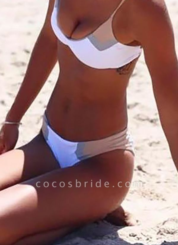 Polyester Halter Color Block Bikinis Swimwear
