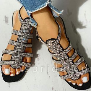 Women's Sequin Buckle Slingbacks Flat Heel Sandals