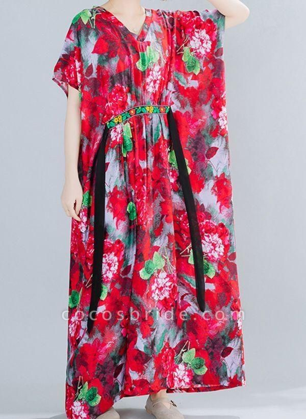 Red Plus Size Floral V-Neckline Boho Sashes Maxi Plus Dress
