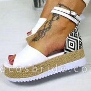 Women's Buckle Flats Cloth Flat Heel Sandals Platforms