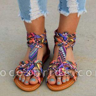 Women's Zipper Flats Leatherette Flat Heel Sandals