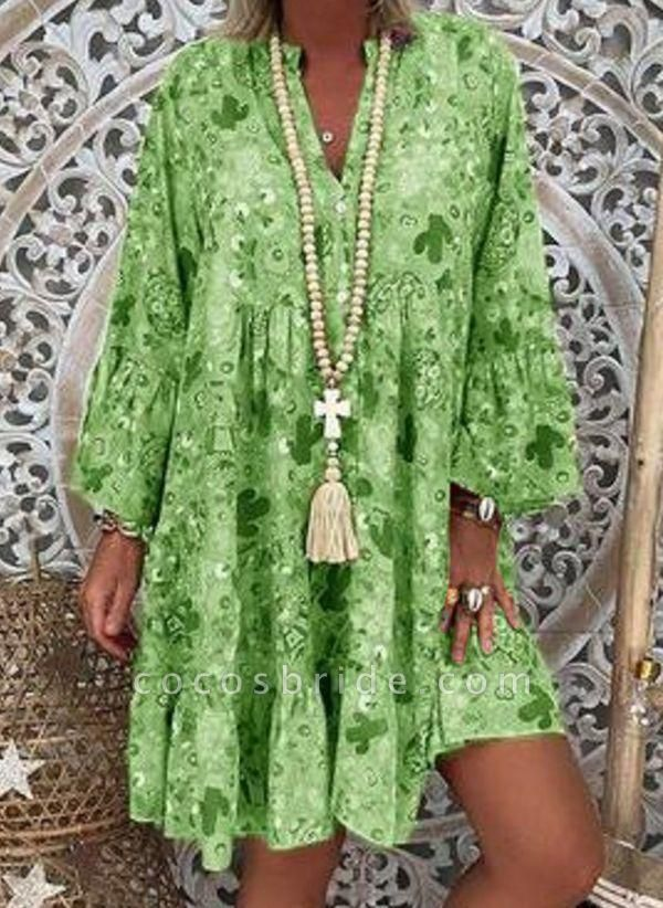 Green Plus Size Tunic Floral V-Neckline Casual Above Knee Plus Dress