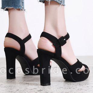 Women's Ankle Strap Heels Nubuck Chunky Heel Sandals