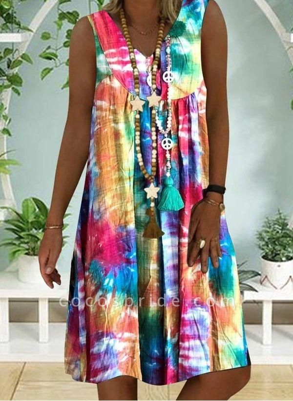 Multicolor Plus Size Tunic Color Block V-Neckline Casual Knee-Length Plus Dress