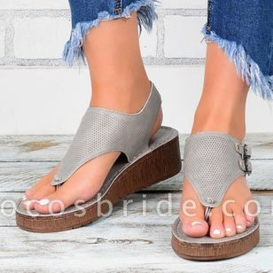 Women's Buckle Slingbacks Flat Heel Sandals Platforms