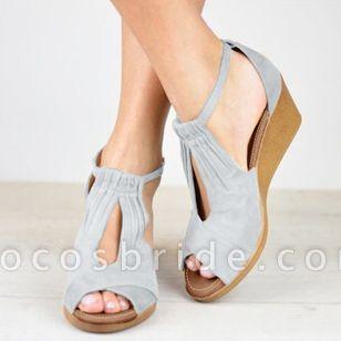 Women's Buckle Nubuck Wedge Heel Sandals