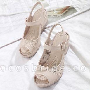 Women's Buckle Hollow-out Peep Toe Slingbacks Wedge Heel Sandals