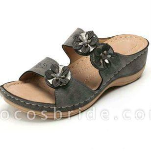 Women's Flower Slingbacks Wedge Heel Sandals