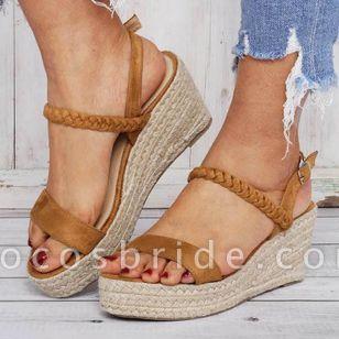 Women's Buckle Slingbacks Cloth Wedge Heel Sandals Platforms