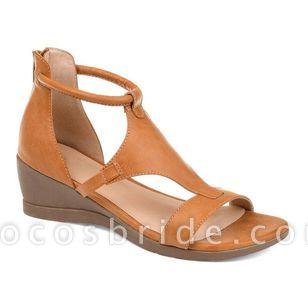 Women's Zipper Round Toe Wedge Heel Sandals