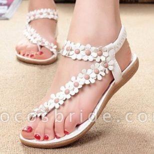 Women's Flower Flip-Flops Flat Heel Sandals