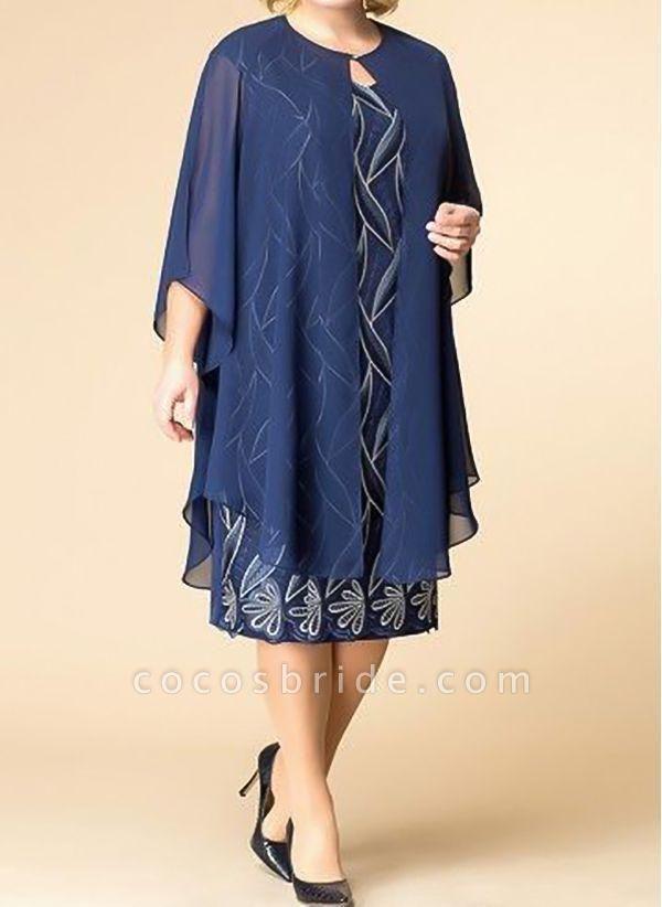 Blue Plus Size Tunic Floral Round Neckline Elegant Wrap Plus Dress