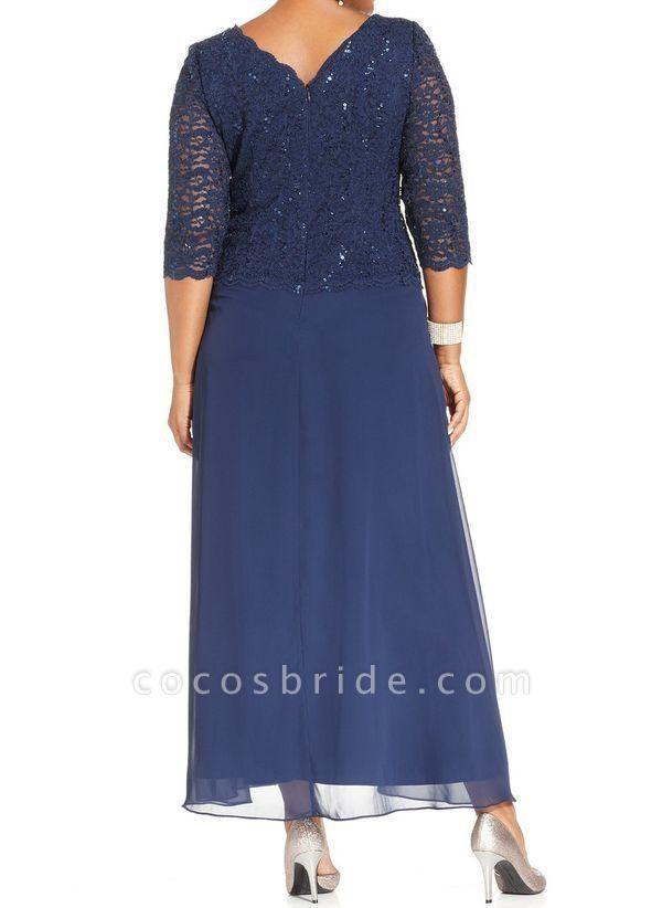 Blue Plus Size Tunic Solid Round Neckline Casual Lace Plus Dress