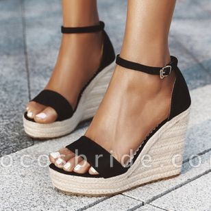 Women's Ankle Strap Modern Nubuck Wedge Heel Sandals