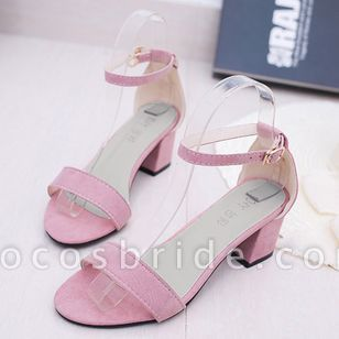 Women's Ankle Strap Peep Toe Nubuck Chunky Heel Sandals