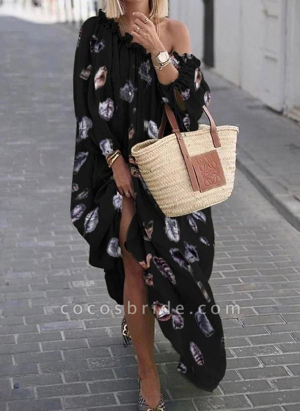 Black Plus Size Color Block Round Neckline Casual Maxi Shift Dress Plus Dress