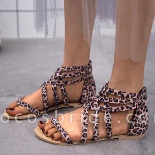 Women's Leopard Zipper Toe Ring Flat Heel Sandals