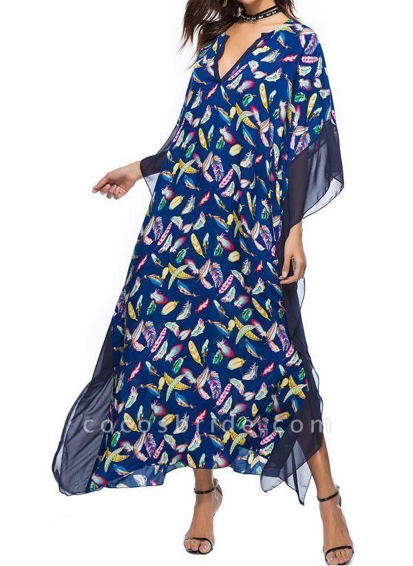 Blue Plus Size Tunic Color Block V-Neckline Casual Maxi Plus Dress