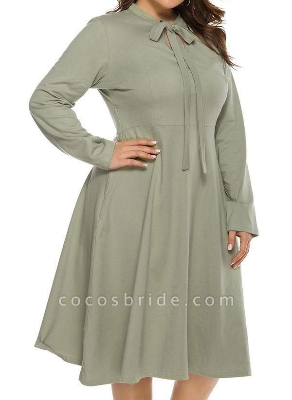 Light Green Plus Size Skater Solid Round Neckline Casual Hollow Out Plus Dress