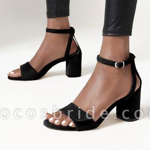 Women's Buckle Modern Nubuck Chunky Heel Sandals