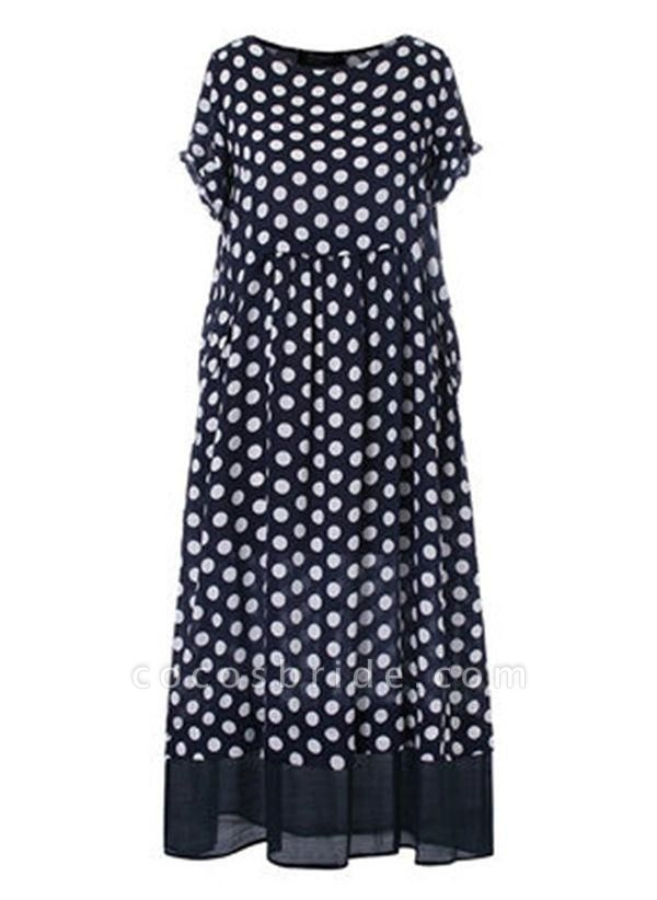 Black Plus Size Polka Dot Round Neckline Casual Ruffles Maxi Plus Dress