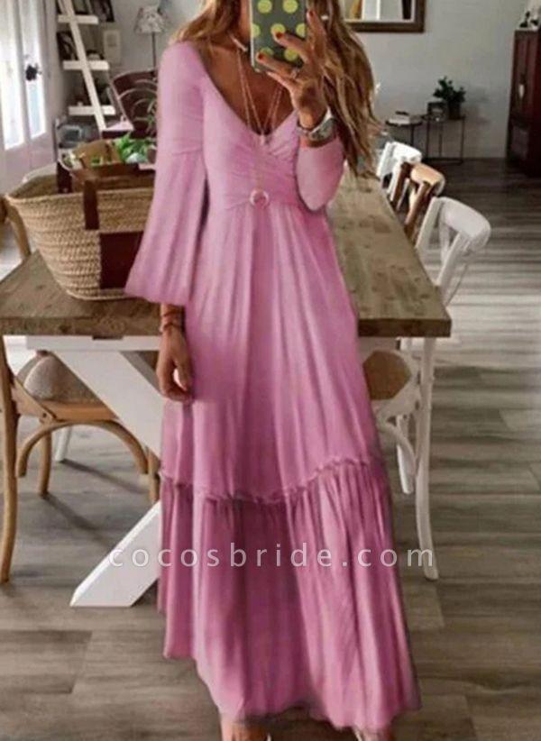 Pink Casual Color Block V-Neckline Maxi X-line Dress