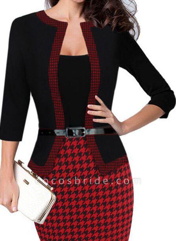 Elegant Color Block Wrap Pencil Bodycon Dress
