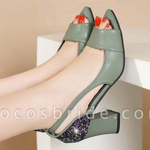 Women's Sequin Heels Spool Heel Sandals