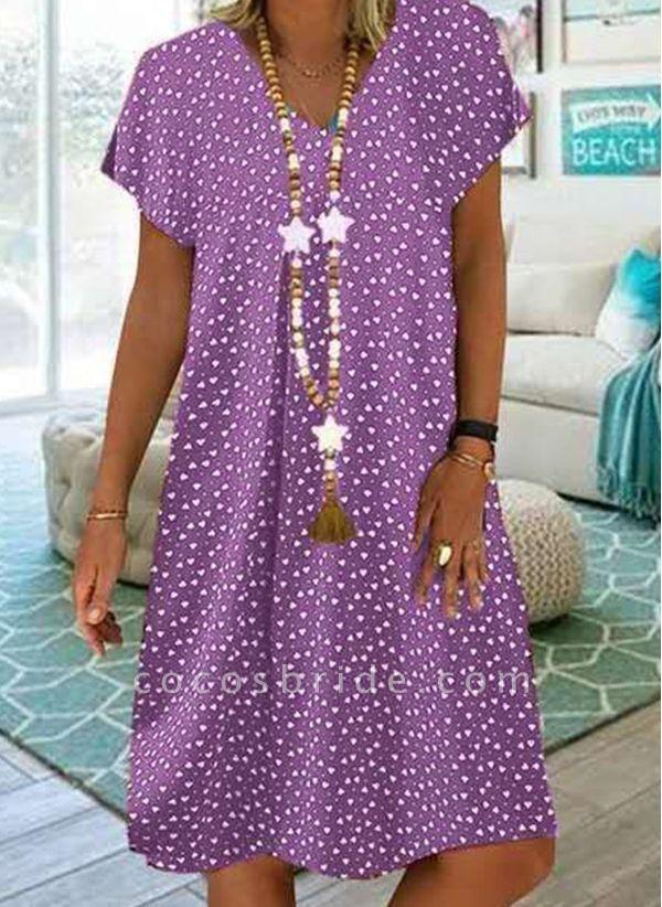 Purple Plus Size Tunic Geometric V-Neckline Casual Knee-Length Plus Dress