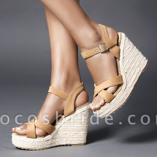 Women's Peep Toe Nubuck Wedge Heel Sandals